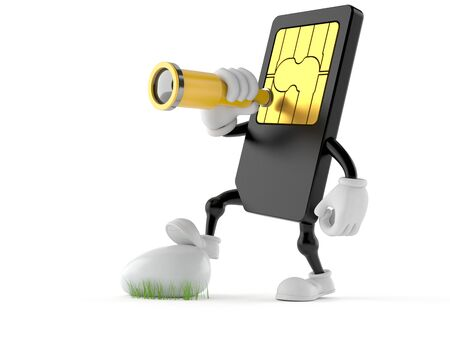 SIM card character looking through a telescope isolated on white background Stock Photo