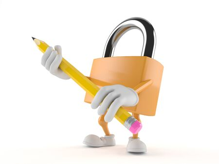Padlock character holding pencil isolated on white background Фото со стока
