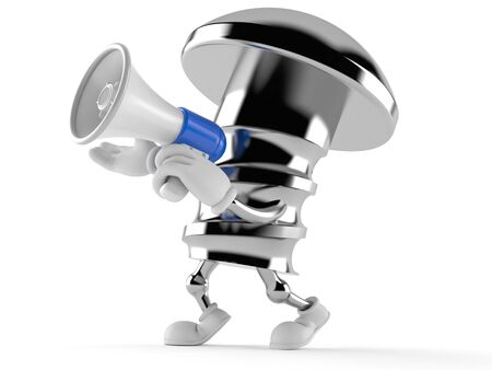 Bolt character speaking through a megaphone isolated on white background Stock Photo