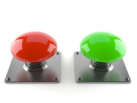 Red and green blank push button isolated on white background Stock Photo
