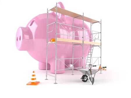 Piggy bank with scaffolding isolated on white background