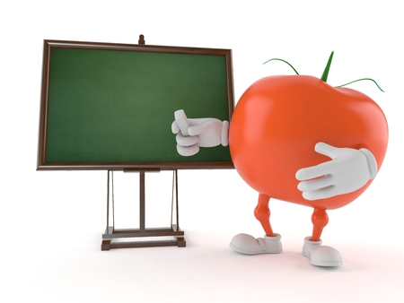 Tomato character with blank blackboard isolated on white background