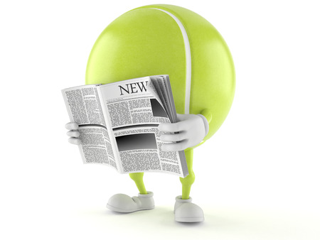 Tennis ball character reading newspaper on white background