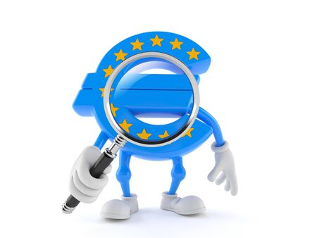Euro currency character looking through magnifying glass isolated on white background Stock Photo
