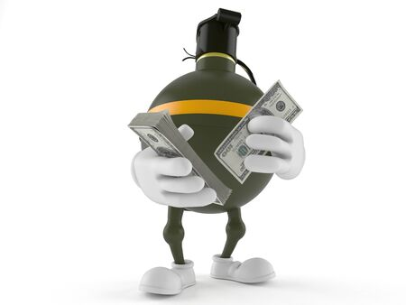 Hand grenade character counting money isolated on white background