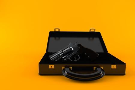 Gun inside briefcase isolated on orange background Foto de archivo