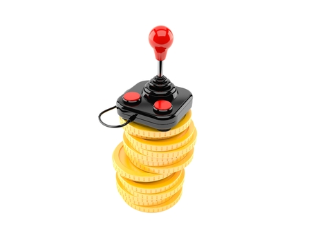 Joystick on stack of coins isolated on white background