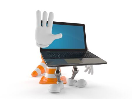 Laptop character making stop gesture isolated on white background