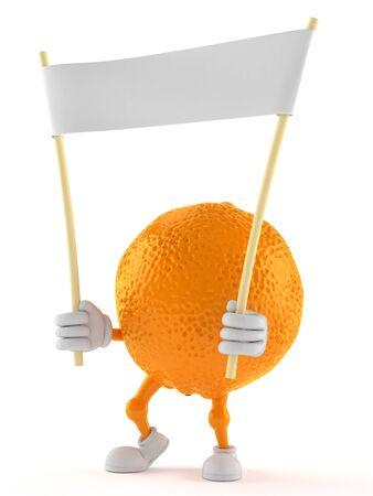 Orange character holding blank banner isolated on white background