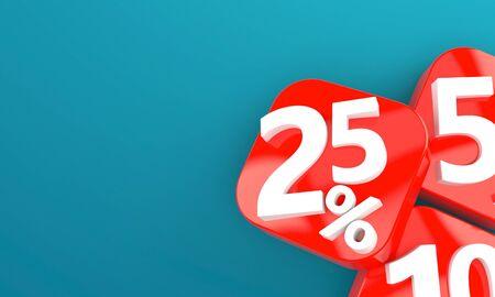 Percentage symbol on blue background Stock Photo