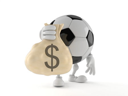 Soccer ball character holding money bag isolated on white background