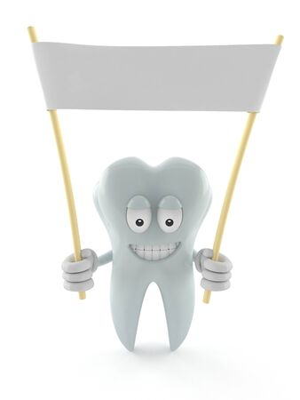Tooth character holding blank banner isolated on white background Stock Photo