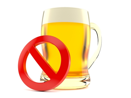 Beer with forbidden symbol isolated on white background