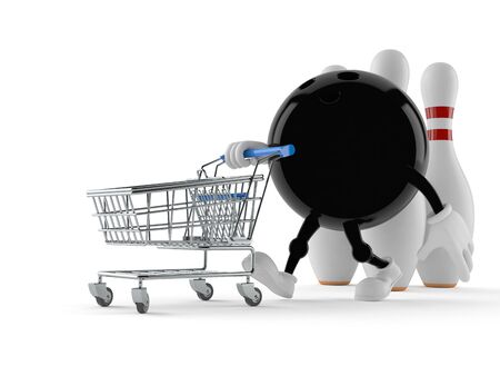 Bowling character with shopping cart isolated on white background
