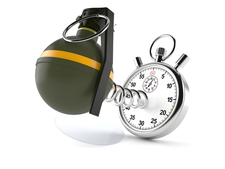 Hand grenade with stopwatch isolated on white background Stock Photo