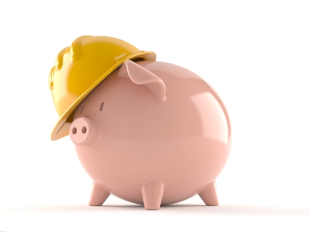 Piggy bank with hardhat isolated on white background