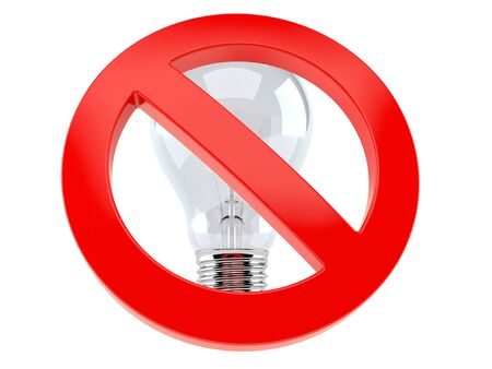 Light bulb with forbidden sign isolated on white background