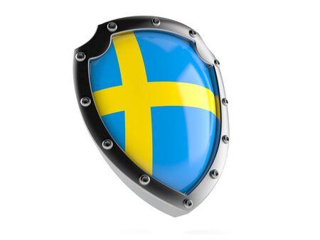 Shield with swedish flag isolated on white background