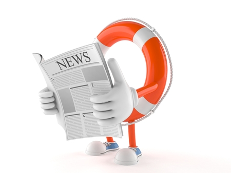 Life buoy character reading a newspaper on white background Stock Photo