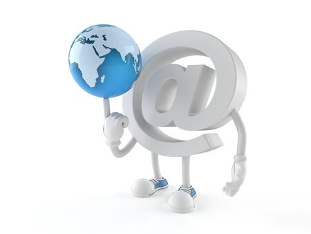 E-mail character with world globe isolated on white background
