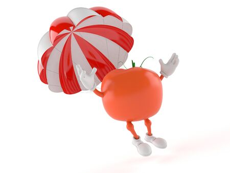 Tomato character with parachute isolated on white background