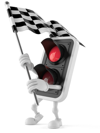 Red light character with racing flag isolated on white background Banco de Imagens