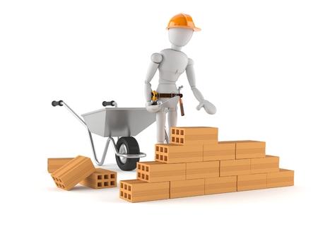 Hand arbeider geïsoleerd op witte achtergrond