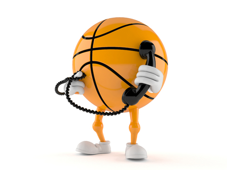 Basketball character holding a telephone handset isolated on white background