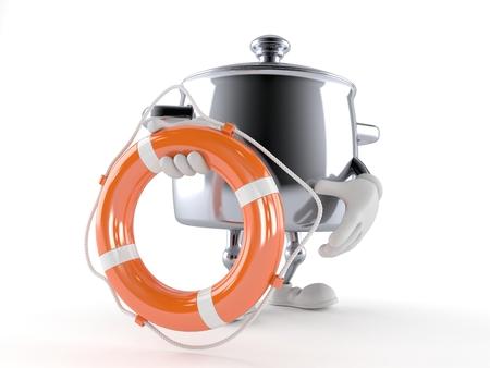 Kitchen pot character holding life buoy isolated on white background 스톡 콘텐츠