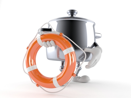 Kitchen pot character holding life buoy isolated on white background Foto de archivo