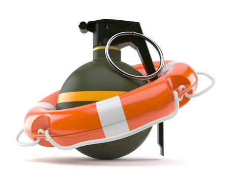 Hand grenade with life buoy isolated on white background