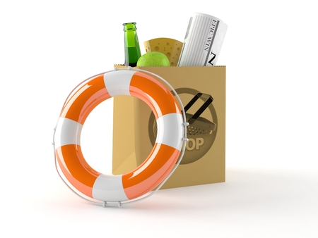 Shopping bag with life buoy isolated on white background
