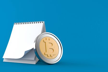 Bitcoin with blank calendar isolated on blue background