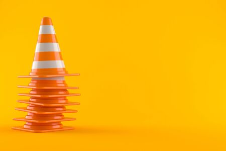 Traffic cones isolated on orange background Banco de Imagens