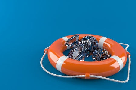 Life buoy with diamonds isolated on blue background