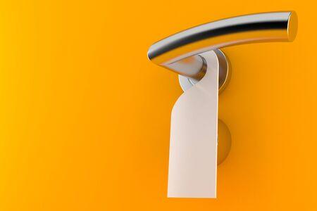 Door handle with blank card isolated on orange background Stock Photo