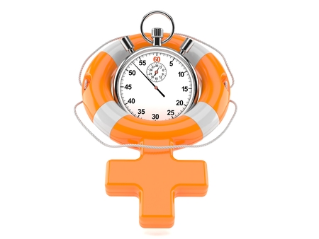 Life buoy in female gender shape with stopwatch isolated on white background