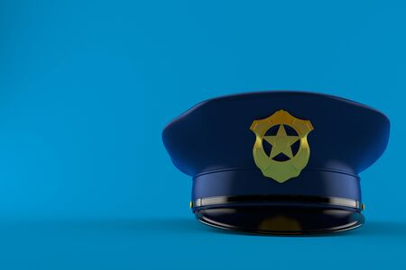 青い背景に隔離された警察の帽子