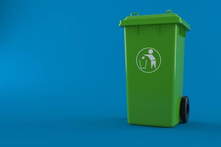 Dustbin isolated on blue background