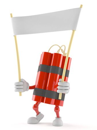 Dynamite character holding blank banner isolated on white background