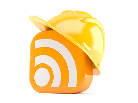 RSS icon with hardhat isolated on white background Stock Photo