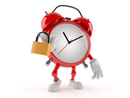 Alarm clock character with padlock isolated on white background