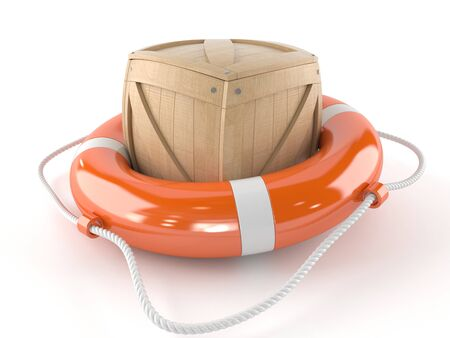 Life buoy with crate isolated on white background