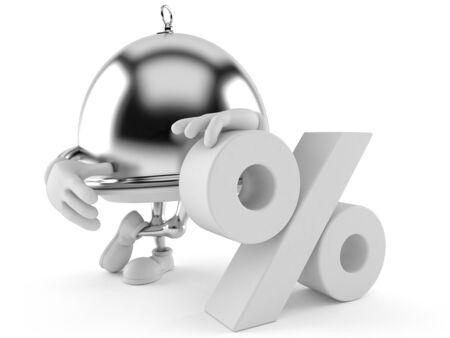 Dôme de l & # 39 ; argent avec le symbole de pourcentage isolé sur fond blanc Banque d'images - 93712057