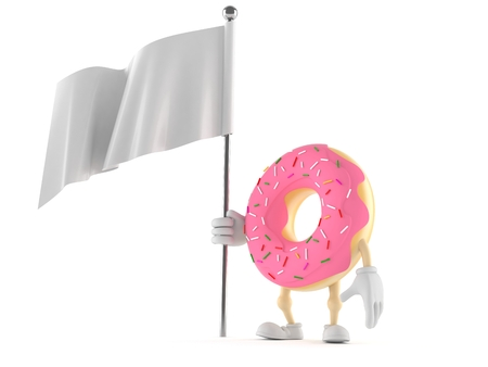 Donut character with blank flag isolated on white background