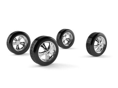 흰색 배경에 고립 된 4 개의 자동차 바퀴
