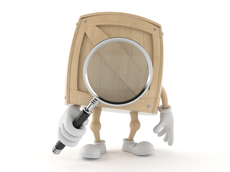 Crate character looking through magnifying glass isolated on white background
