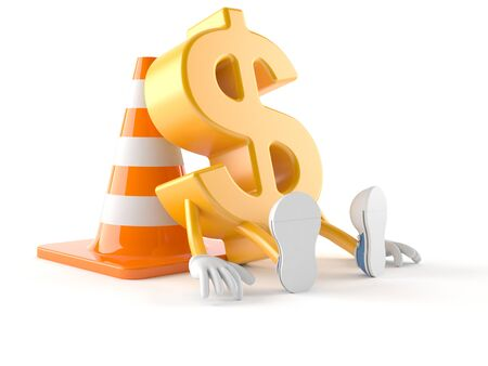 Dollar character with traffic cone isolated on white background Stock Photo