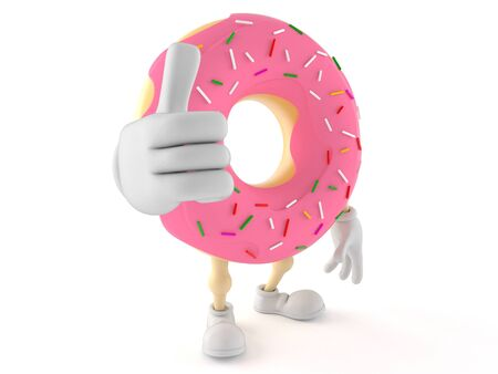 Donut character with thumbs up isolated on white background