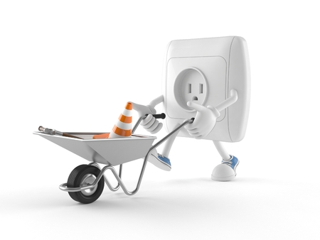 Outlet character with wheelbarrow isolated on white background Stockfoto